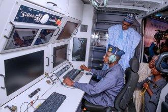 President Muhammadu Buhari at the launch of Tsaigumi Drone
