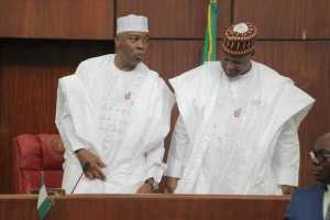 Senate President, Bukola Saraki and Speaker, Yakubu Dogara. [Photo credit: Newmail-ng.com]