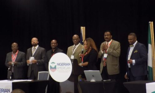 Kenneth Shobola, President, Nigerian-American Business Forum speaking at the inauguration of the forum at Tampa, Florida