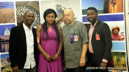 L-R: Premium Times manging editor, Idris Akinbajo, Adenike Aloba, A foremost Pan Africanist, Zizwe Poe and Richard Akinwumi.