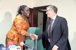 The Honourable Minister of Finance, Mrs. Kemi Adeosun welcoming the Co-Chair of Bill and Melinda Gates Foundation, Mr. Bill Gates, to the Federal Ministry of Finance during a meeting on vaccine financing and support for Nigeria's fiscal agenda in Abuja on Thursday, 22nd March, 2018