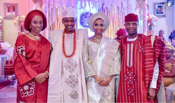 Vice President Osinbajo, wife in photo with the newly wed