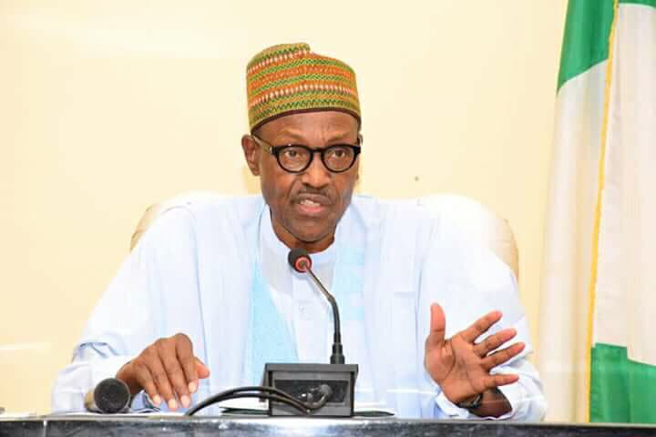 File photo of President Muhammadu Buhari speaking during his visit to Jalingo