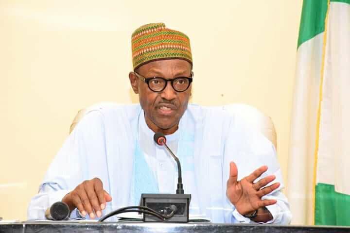 File photo of President Muhammadu Buhari speaking during his visit to Jalingo