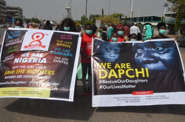 Women protest over Dapchi schoolgirls abduction in Abuja. [Photo credit: Sahara Reporters]