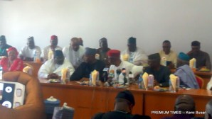 APC Chairman, John Odigie-Oyegun at the APC Caucus meeting at the National Assembly