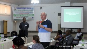 Zaid Jurgi, Chief of WASH, UNICEF during his presentation at a media dialogue on Water Supply and Sanitation in Jos, Plateau STATE (FILE PHOTO)