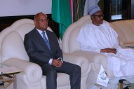 President Muhammadu Buhari and the ECOWAS President Mr Jean Cloude Kessi Brou during an audience at the State House Abuja. PHOTO; SUNDAY AGHAEZE. MARCH 2ND, 2018.
