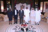 President Muhammadu Buhari (M) flanked by the ECOWAS President Mr Jean Cloude Kessi Brou, Special Adviser Mr Diane Mamadi and Ambassador of Cote D'Ivoire to Nigeria, Mrs Toure Maman Nee Kone, Minister of State Foreign Affairs and .Chief of Staff Mallam Abba Kyari during an audience at the State House Abuja. PHOTO; SUNDAY AGHAEZE. MARCH 2ND, 2018
