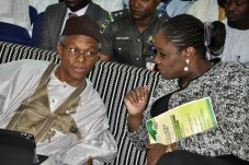 Kaduna State Governor Mallam Nasir El Rufai (left) with Minister of Finance, Mrs. Kemi Adeosun, during an interactive session on Voluntary Assets and Income Declaration Scheme in Kaduna on Thursday, 1st March, 2018 . [Photo credit: Ministry of Finance]
