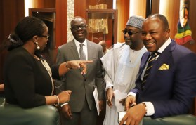 (l-r) Minister for Finance, Mrs. Kemi Adeosun; Deputy Chief of Staff to the President, Mr. Ade Ipaye; Minister for Water Resources, Mallam Suleiman Adamu and the Minister of State for Petroleum, Dr. Ibe Kachuk discussing during the Federal Executive Council chaired by Vice President Yemi Osinbajo at the Aso Chambers, State House, Abuja. Photo by Abayomi Adeshida 11/04/2018