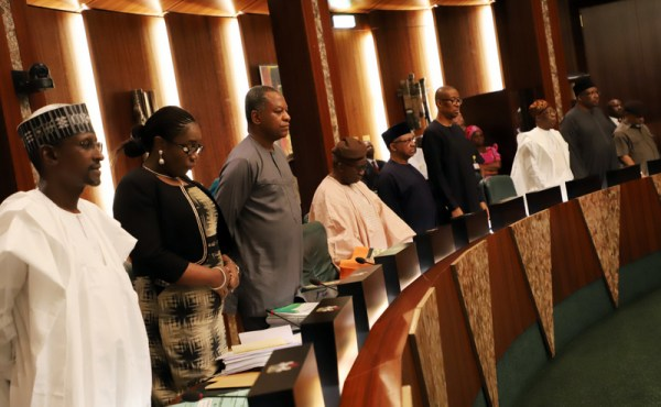 From the left, the FCT Minister, Mallam Muhammadu Belo; Minister for Finance, Mrs. Kemi Adeosun; Minister for Foreign Affairs, Geofferery Onyeama and other Ministers singing the national anthem during the Federal Executive Council chaired by Vice President Yemi Osinbajo at the Aso Chambers, State House, Abuja. Photo by Abayomi Adeshida 11/04/2018 (FILE PHOTO)