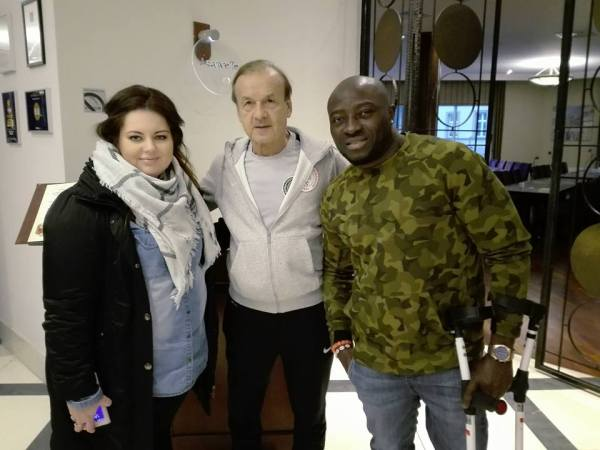 Bamgbopa Abayomi with Super Eagles Coach, Gernot Rohr