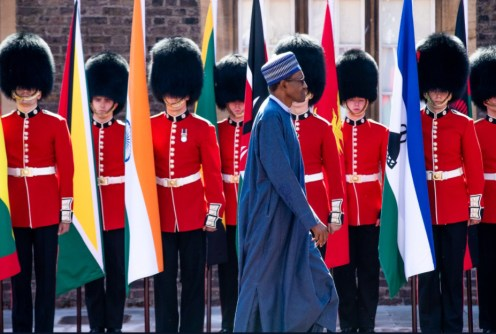President Buhari arrives at Friary House, London for the opening ceremony of the Commonwealth Heads of Government Meeting (#CHOGM18)