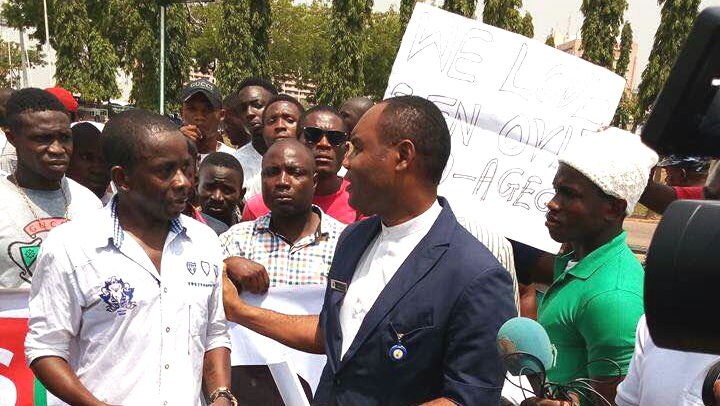 Omo-Agege's constituents protesting at the National Assembly