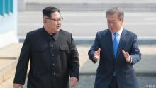 North Korean leader Kim Jong Un and South Korean President Moon Jae In