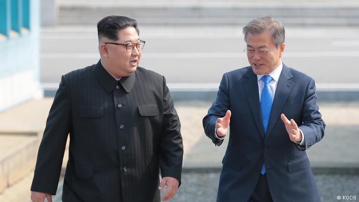 North Korean leader Kim Jong Un and South Korean President Moon Jae In
