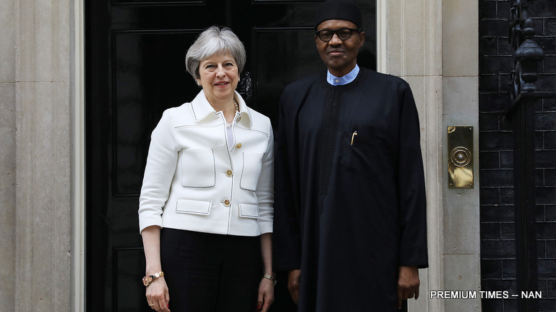 FILE: President Muhammadu Buhari (r) with the British Prime Minister, Theresa May during the visit of the President to No.10 Downing Street London in London on Monday (16/4//18)
