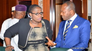 Pic 3. Minister of State for Petroleum, Dr Ibe Kachikwu (r) with the Minister of Finace, Mrs Kemi Adeosun at the Federal Executive Council Meeting in Abuja on Wednesday (11/4/18) 01964/11/4/2008/Callistus Ewelike/NAN