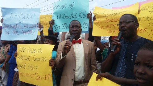 Baptist Church worshippers protest killings across Nigeria
