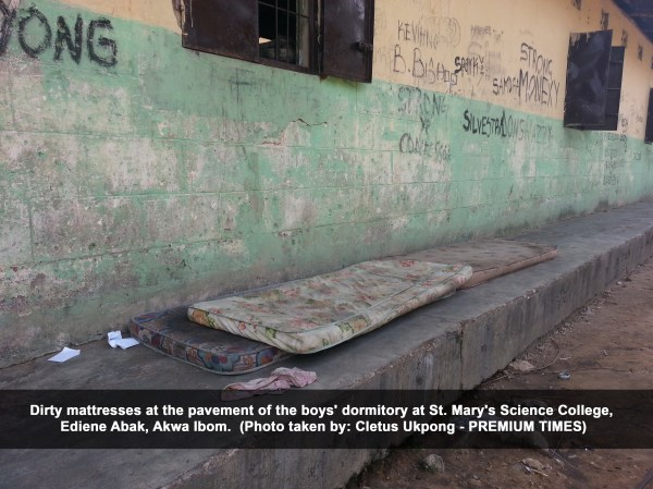 Dirty mattresses at the pavement of the boys' dormitory at St. Mary's Science College, Ediene Abak, Akwa Ibom (Cletus Ukpong)