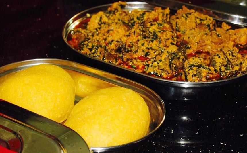 Eguisi soup and eba