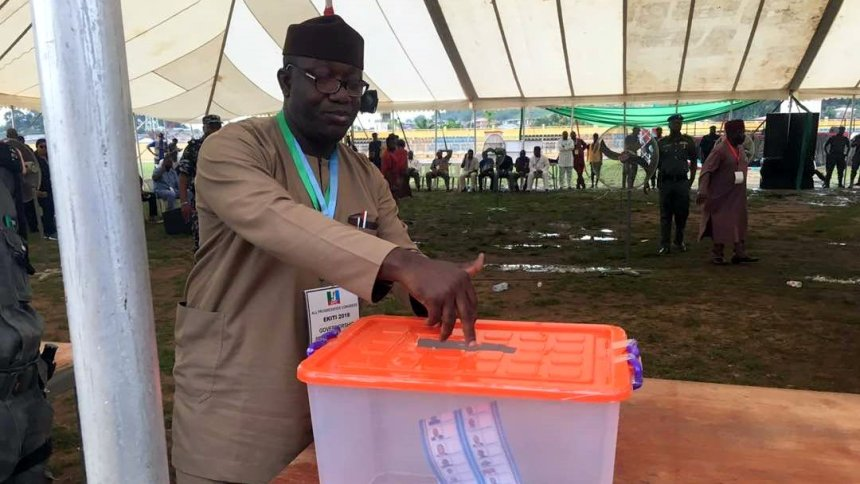 Kayode Fayemi casting his vote at the Ekiti APC Governorship primaries