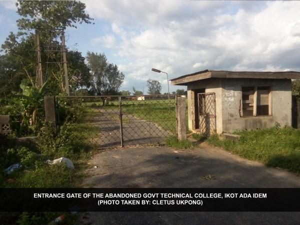 Entrance gate of the abandoned Govt Technical College, Ikot Ada Idem