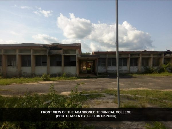 Front view of the abandoned technical college [Photo: Cletus Ukpong]