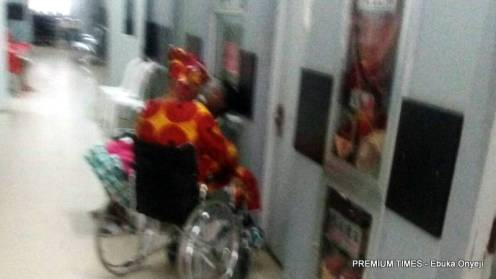 A woman suffering from Partial stroke at the corridors of FMC Jabi, Abuja.