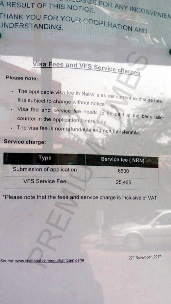 South African visa fees and service charges on VFS information Board.