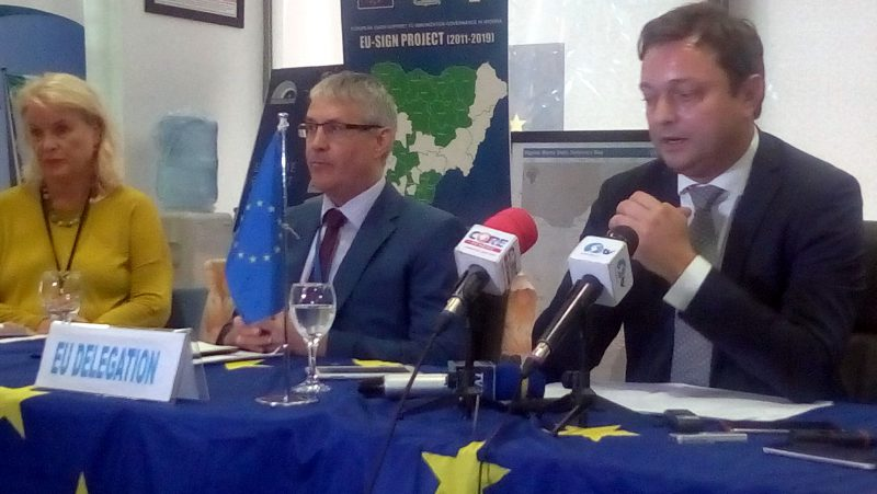 Ketil Karlsen, EU Ambassador & Head of delegation to Nigeria (R) , with Richard Yang, Deputy Head of EU delegation during a media briefing on preparations towards the '2018 Europe Day' in Abuja on Wednesday