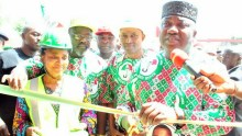 Governor Ifeanyi Ugwuanyi of Enugu State (right) with the Commissioner for Works and Infrastructure, Engr. Greg Nnaji (middle); Commissioner for Rural Development, Ozo Gab Onuzulike (left); the Special Adviser to the Governor on Rural Development, Hon. Uchechukwu Ogbonna (behind), during the inauguration of one of five new Ultra Modern Fire Service stations being constructed by his administration after 56 years such projects were built in the state,)