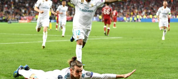 Gareth Bale celebrates his second goal against Liverpool in the #UCLfinal [Photo: BBC Sports]
