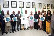 Speaker Yakubu Dogara in a group photograph with the #NotTooYoungToRun movement at his office on Wednesday. Photo Credit: Speaker's Office