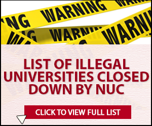 NUC illegal Uni Advert