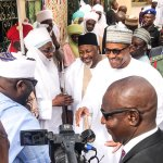 President Muhammadu Buhari paying homage to Emir of Dutse, HRH Dr. Muhammad Nuhu Sanusi at the Dutse Emir's Palace.
