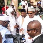 President Muhammadu Buhari paying homage to Emir of Dutse, HRH Dr. Muhammad Nuhu Sanusi at the Dutse Emir's Palace.