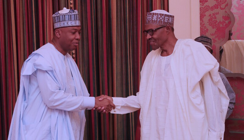President Muhammadu Buhari receives President of the Senate, Senator Abubakar Bukola Saraki accompanied by The Speaker of the Federal House Representatives Rt Hon Yakubu Dogara at the State House in Abuja. PHOTO; SUNDAY AGHAEZE. MAY 7 2018