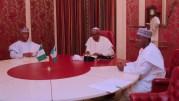 President Muhammadu Buhari (M) receives President of the Senate, Senator Abubakar Bukola Saraki and The Speaker of the Federal House Representatives Rt Hon Yakubu Dogara at the State house in Abuja. PHOTO; SUNDAY AGHAEZE. MAY 7 2018.