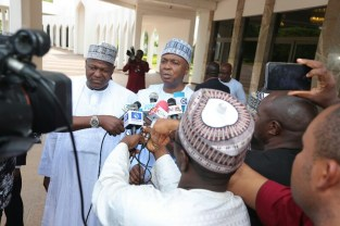 The President of the Senate, Senator Abubakar Bukola Saraki and The Speaker of the Federal House Representatives Rt Hon Yakubu Dogara press the State House Press after meeting with President Buhari in a close door at the State house in Abuja. PHOTO; SUNDAY AGHAEZE. MAY 7 2018.