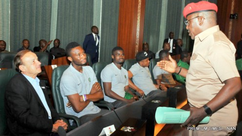 Minister of Sports and Youth Development, Mr Solomon Dalung (r) addressing members of the Super Eagles Team led by the Coach, Gernot Rohr (L) and the Captain John Michel Obi during a Farewell reception for the Eagles by President Buhari at the Presidential Villa in Abuja on Wednesday (30/5/18)