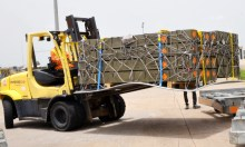 Pic.1. Some ammunitions delivered to the Nigerian Army by partners at the Nnamdi Azikwe International Airport in Abuja on Thursday (17/5/18). 17/5/2018/Johnson Udeani/NAN