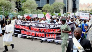Catholic faithful during a peaceful protest in Abuja on Tuesday (22/5/18), over recent killing of their priests in Benue State. 02684/22/5/2018/Anthony Alabi/BJO/NAN