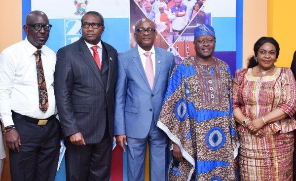L-R: Senior Special Assistant to the Governor on Sports, Mr. Anthony Adeboye; Director General, Lagos State Sports Commission (LSSC), Mr. Babatunde Bank-Anthony; Chairman, LSSC, Mr. Kweku Tandoh; Commissioner for Information & Strategy, Mr. Kehinde Bamigbetan and Permanent Secretary, Ministry of Information & Strategy, Mrs. Kofoworola Awobamise during a media conference by the Sports Commission, as part of the ongoing Y2018 ministerial press briefing to commemorate the third Year in Office of Governor Akinwunmi Ambode, at the Bagauda Kaltho Press Centre, the Secretariat, Alausa, Ikeja, on Tuesday, May 15, 2018.