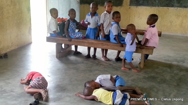 Pupils sleeping on cold, bare floor at Annang Peoples Primary School, Ikot Iyire, Ukpom Abak,