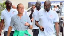 Super Eagles head coach, Gernot Rohr and other staffs.