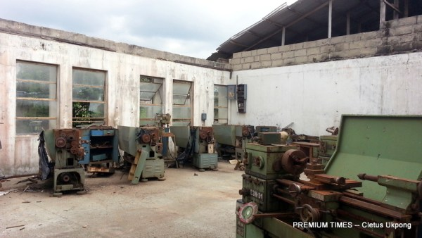 Roofless workshop at Govt Technical College, Abak