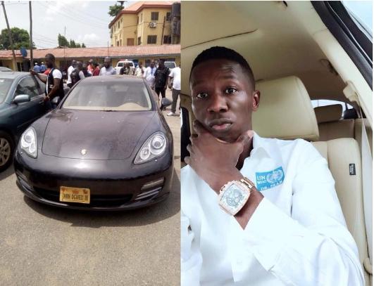 The suspect pictured alongside the retrieved Porsche Car Photo-todaynaija blog