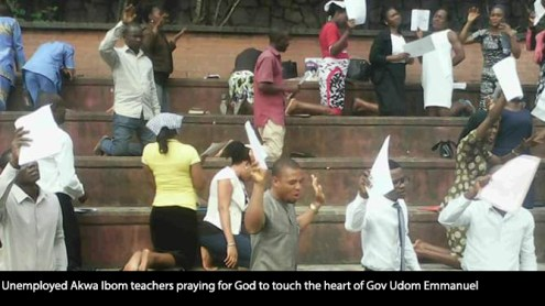 Unemployed Akwa Ibom teachers praying for God to touch the heart of Gov Udom Emmanuel